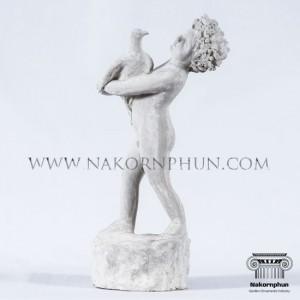 รูปปั้นเด็กอุ้มนก - รูปปั้น ปูน คอนกรีต ขายปลีก และขายส่ง ราคาถูก