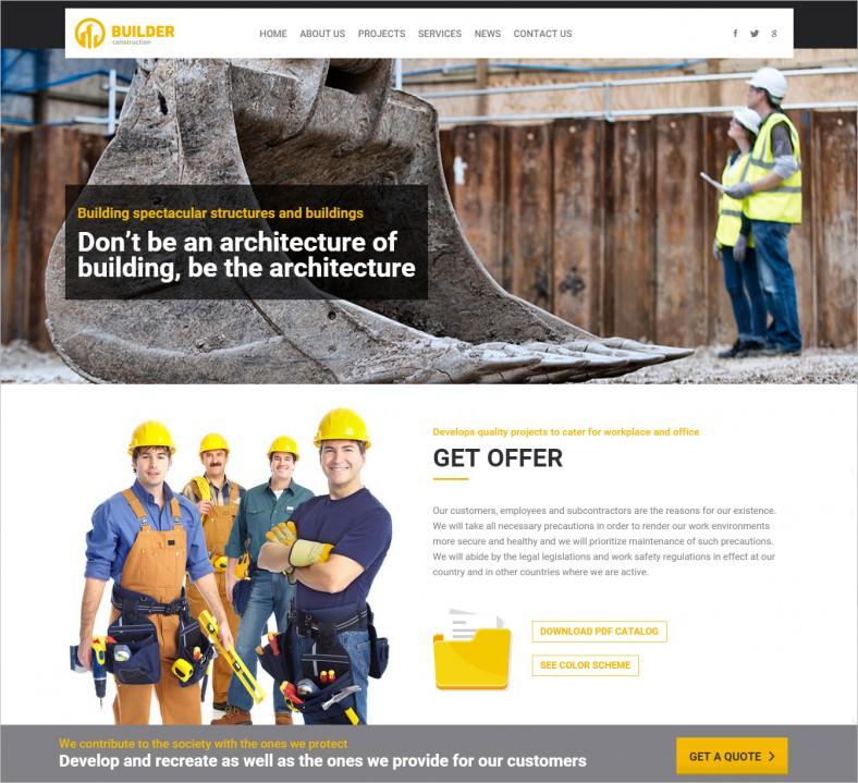 ออกแบบ หน้า บริการ และ ธุรกิจวงการก่อสร้างสวยๆ